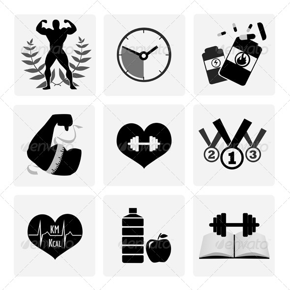 GraphicRiver Black and White Body Building Icons 8296956