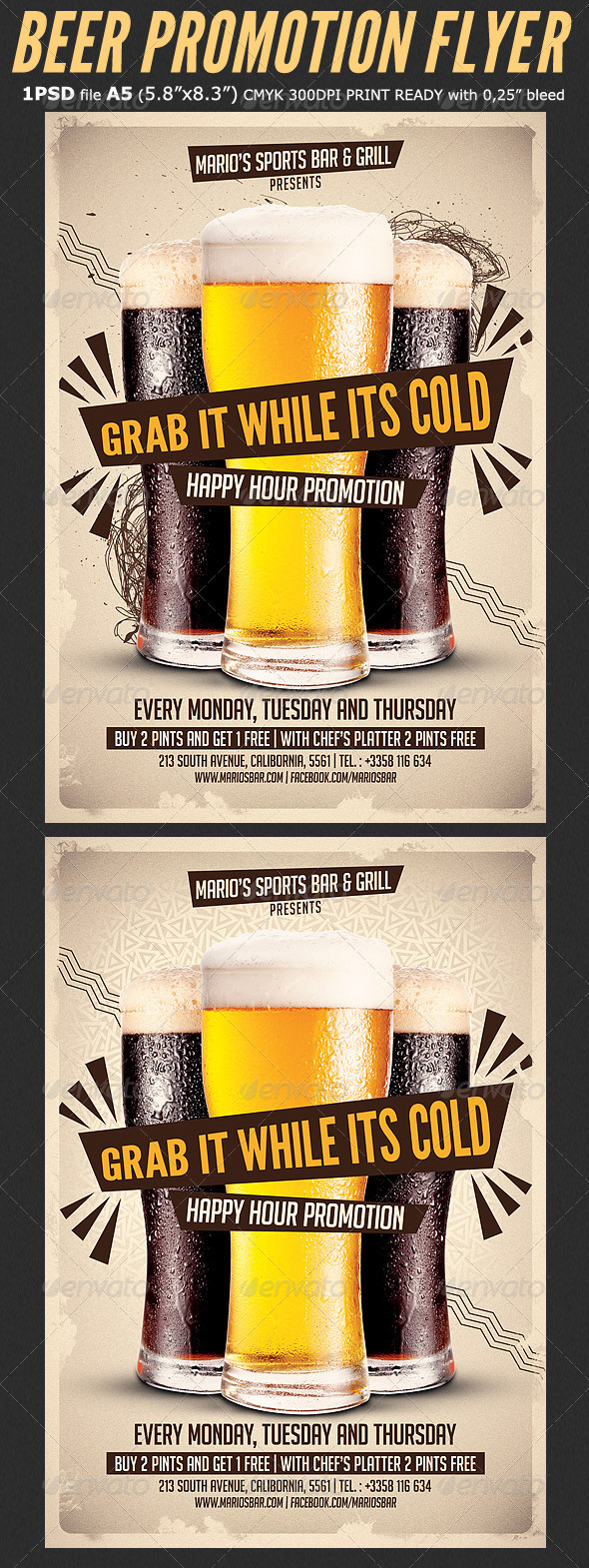 GraphicRiver Beer Promotion Happy Hour Flyer Template 8302328