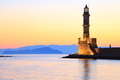 Seascape view of lighthouse in dusk colors Chania Crete - PhotoDune Item for Sale