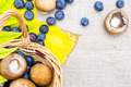 Blueberries and mushrooms in wicker basket on sack cloth - PhotoDune Item for Sale