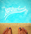 Female feet by the poolside blue waters - PhotoDune Item for Sale