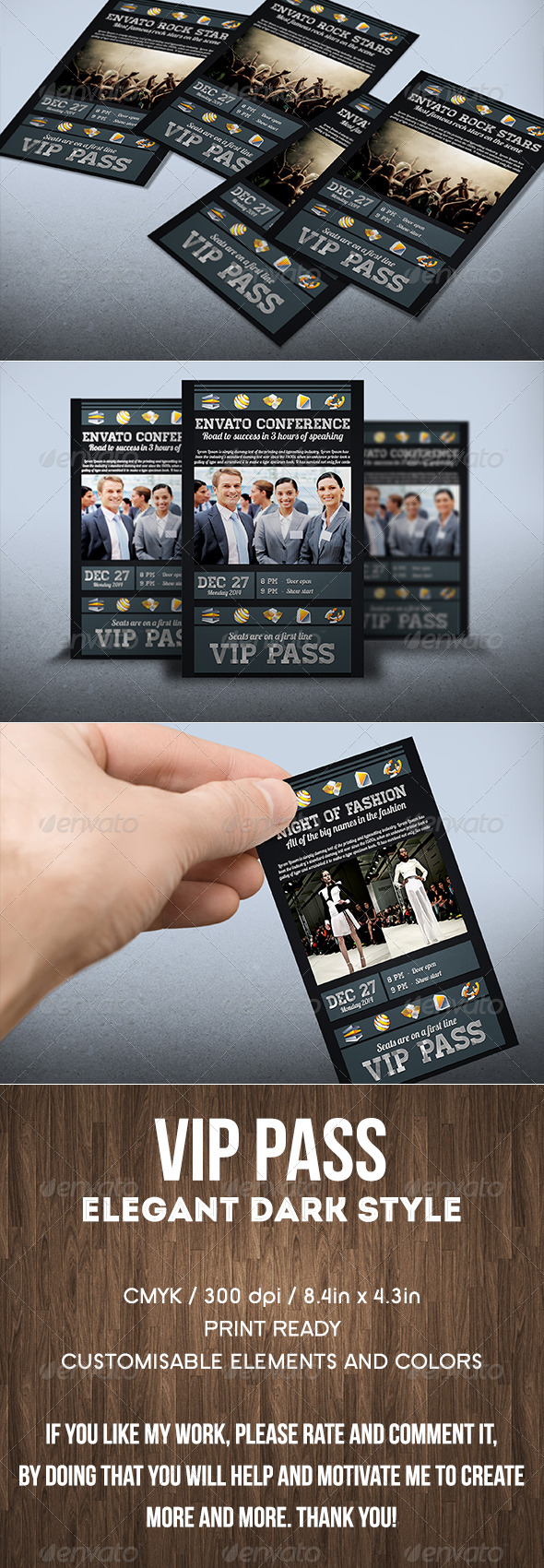 GraphicRiver Dark Style VIP Pass Card 8259484