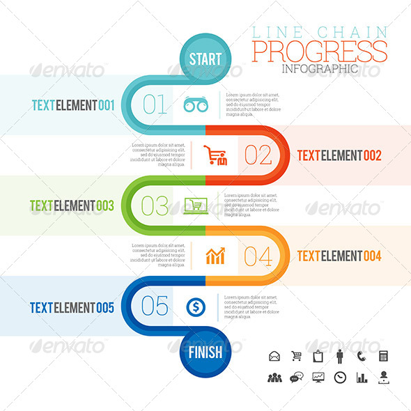 GraphicRiver Line Chain Progress Infographic 8302478