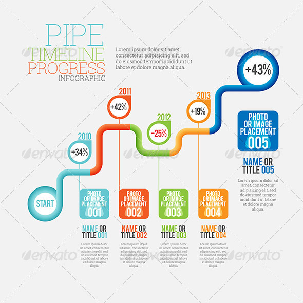 Timeline Infographic - Pipe Timeline Progress Infographic