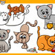 happy cats cartoon illustration set - PhotoDune Item for Sale