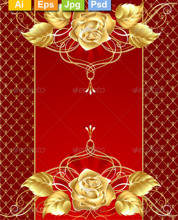 GraphicRiver Jewelry Design with a Gold Rose 8302716