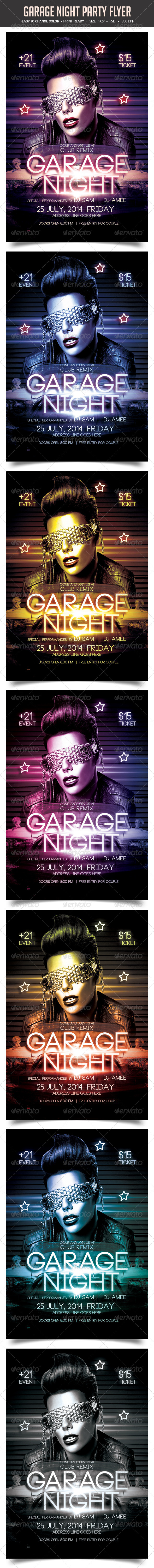 GraphicRiver Garage Night Party Flyer 8302911