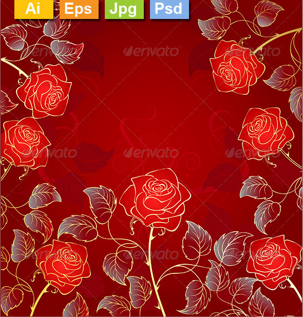 GraphicRiver Golden Red Roses 8302963