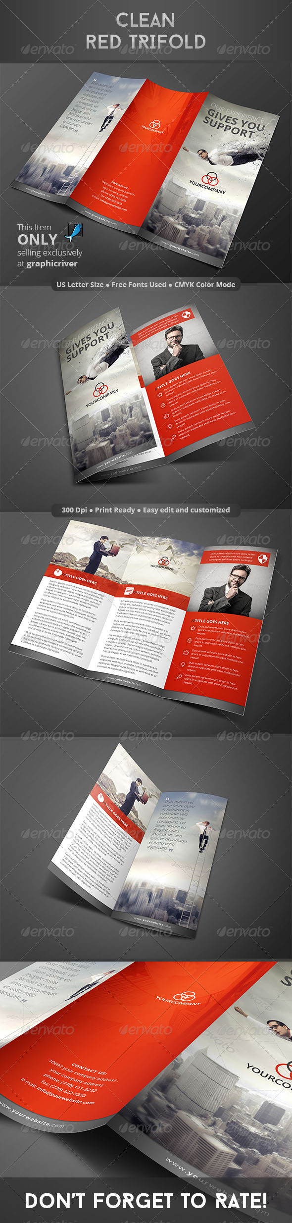 GraphicRiver Clean Red Trifold 8304638