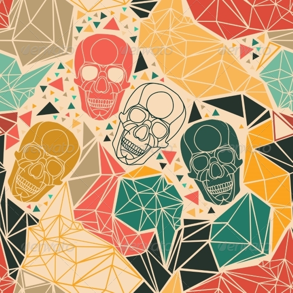 GraphicRiver Skull with Geometric Polygonal Ornament 8304664