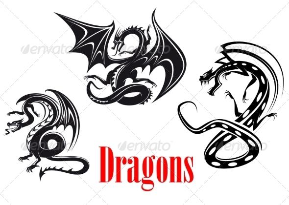 GraphicRiver Black Danger Dragons 8304681