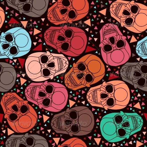 GraphicRiver Skull with Geometric Polygonal Ornament 8304738