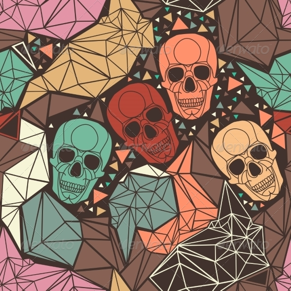 GraphicRiver Skull with Geometric Polygonal Ornament 8304741