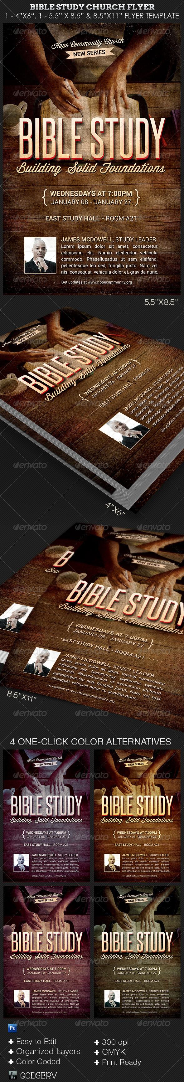 GraphicRiver Bible Study Church Flyer Photoshop Template 8304919