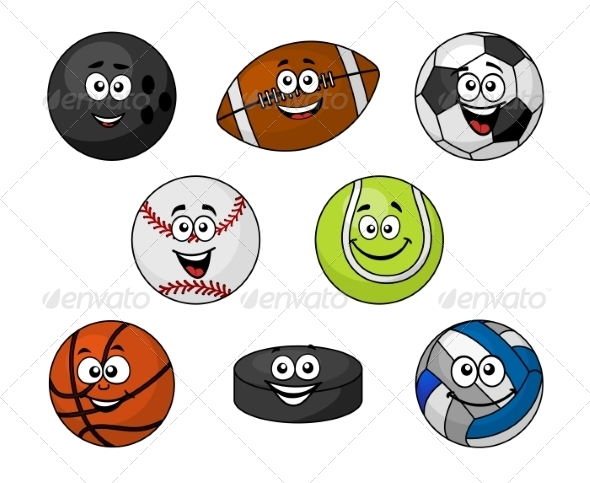 GraphicRiver Set of Cartoon Sports Equipment 8304961