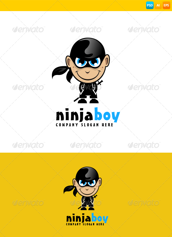 GraphicRiver Ninja Boy Logo 8295119