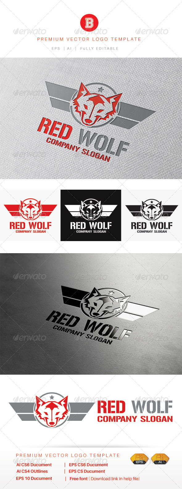 GraphicRiver Red Wolf 8308902