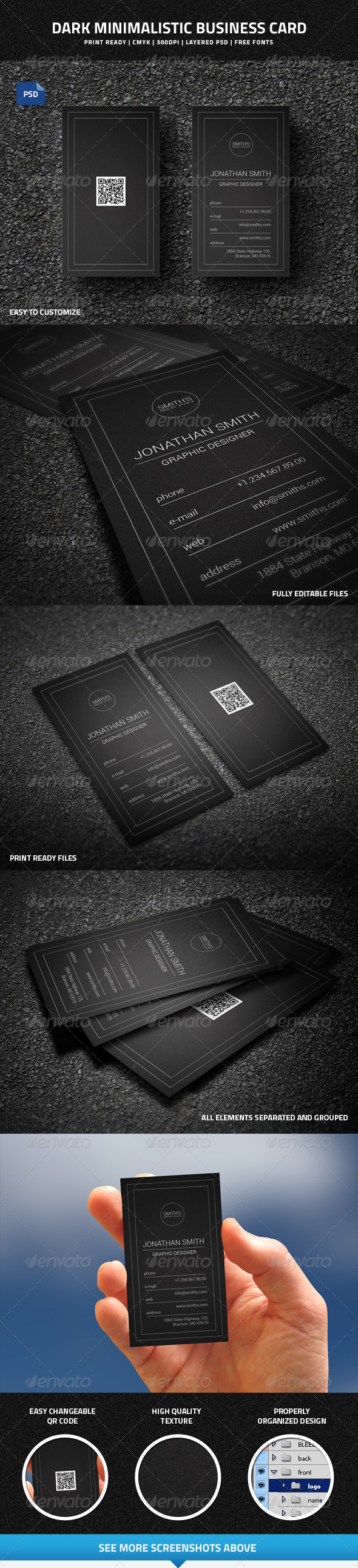 GraphicRiver Dark Minimalistic Business Card with QR code 8311563