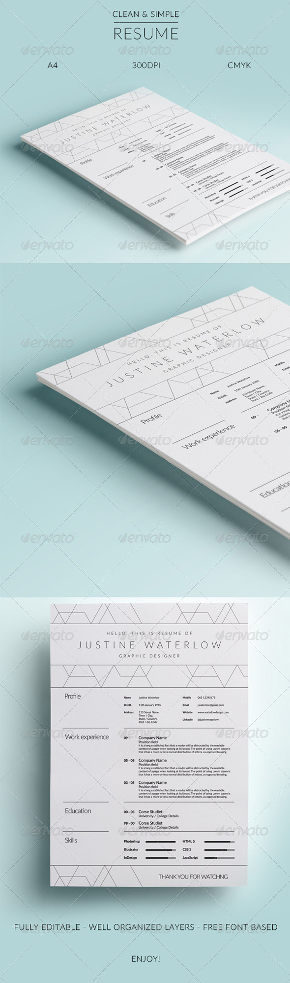 GraphicRiver Clean And Simple Resume CV 8313265