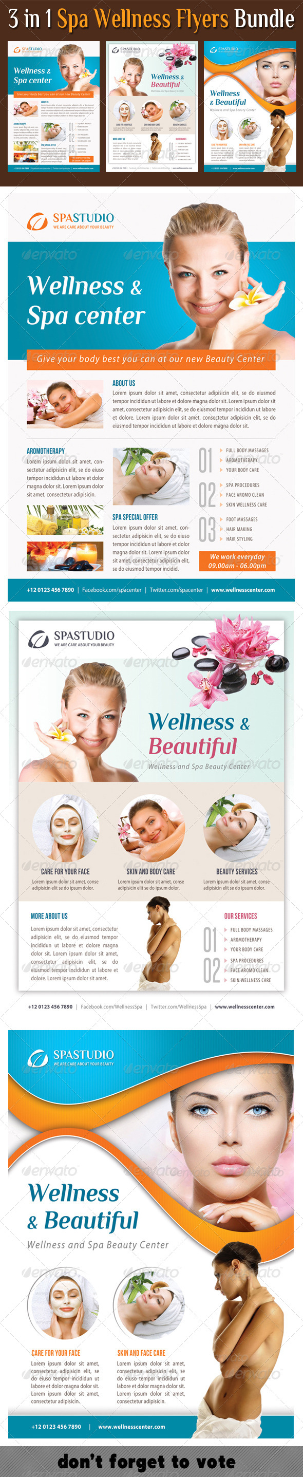 GraphicRiver 3 in 1 Spa Wellness Flyers Bundle 09 8313325