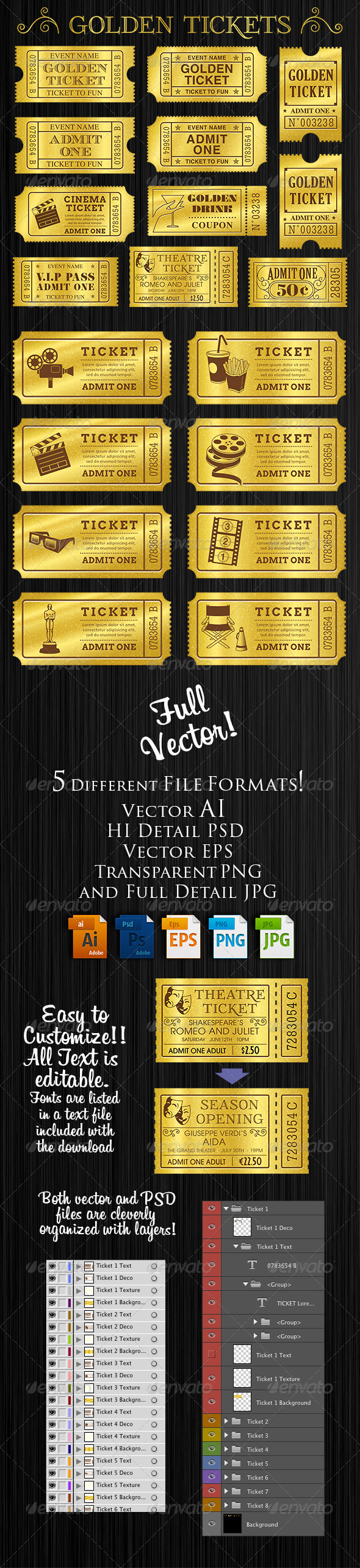 GraphicRiver Golden Tickets Templates Set 8313572
