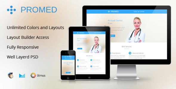 ThemeForest Promed-Health Marketing Responsive Email Template 8314221