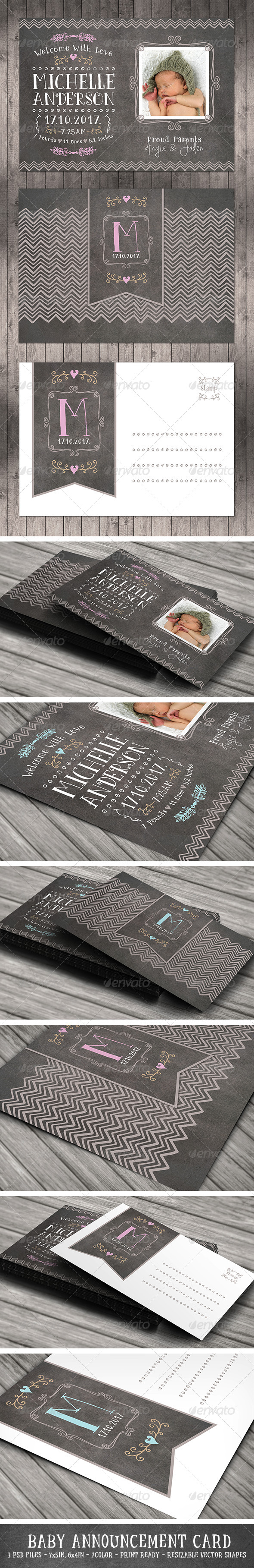 GraphicRiver Baby Announcement Card Vol.2 8314979
