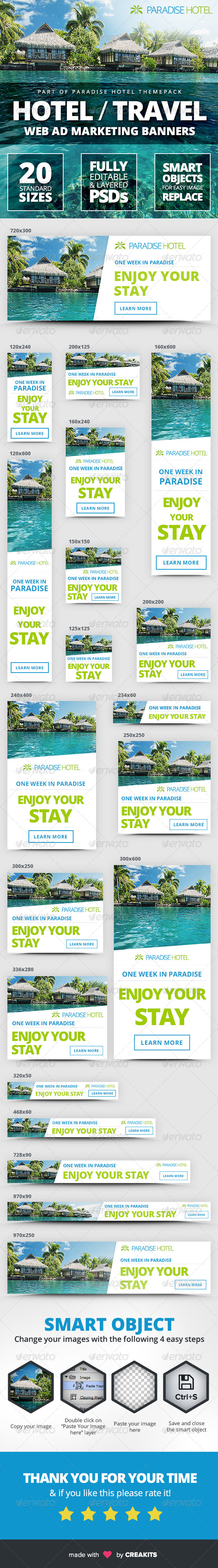 GraphicRiver Hotel Travel Web Ad Marketing Banners 8315608