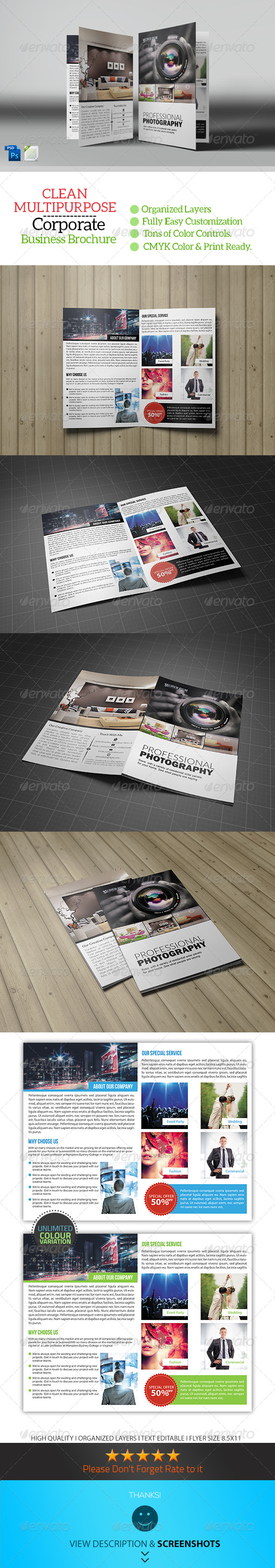 GraphicRiver Photography Bifold Brochure Template 8315760