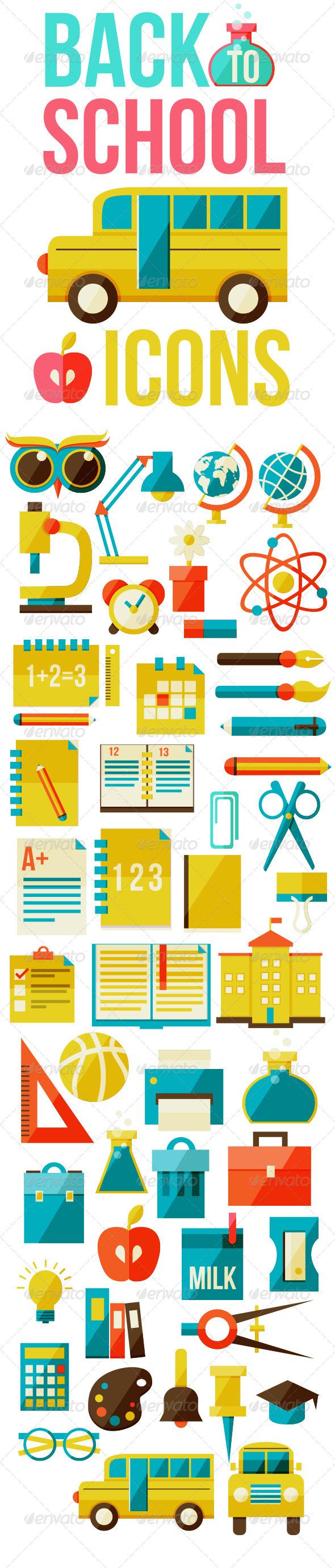 Set of Flat School Icons
