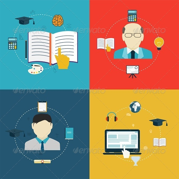 GraphicRiver Flat Design Icons of Education 8316280