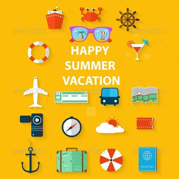 GraphicRiver Icons Summer Vacation in a Flat Style 8316479