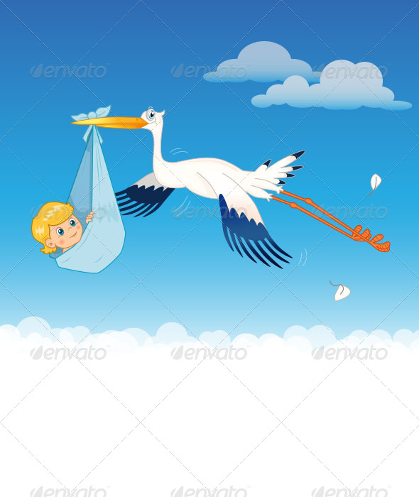 GraphicRiver Stork Delivering Baby 8316569