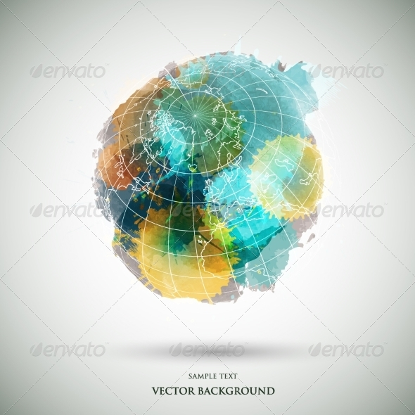 GraphicRiver Vector Grunge Watercolor Colored Earth 8316760
