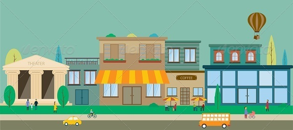 GraphicRiver City Streets in Flat Design 8316937