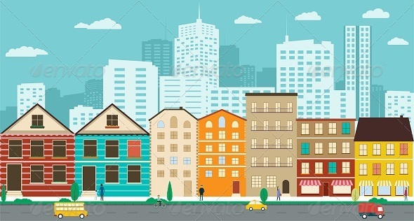 GraphicRiver Town Streets with Views of the Skyscrapers 8316973