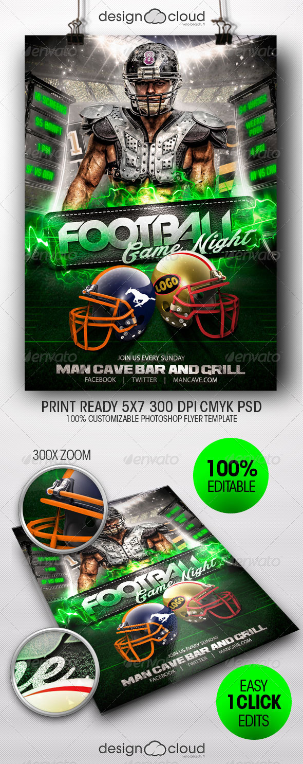GraphicRiver Football Game Night Flyer Template 8317008