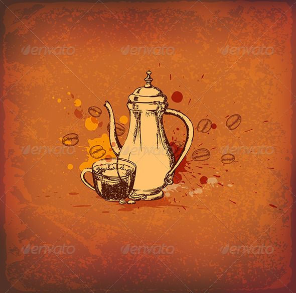 GraphicRiver Coffee Pot and Cup 8317193
