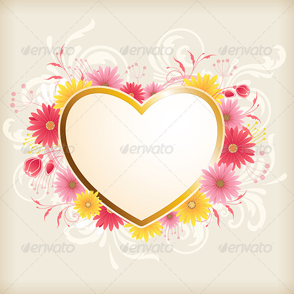 GraphicRiver Heart and Pink Flowers 8317210