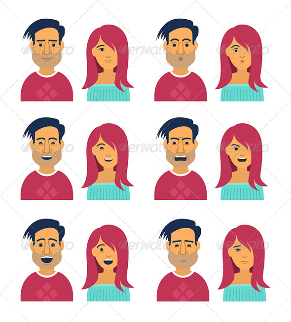 GraphicRiver Facial Expressions of Woman and Man 8317262