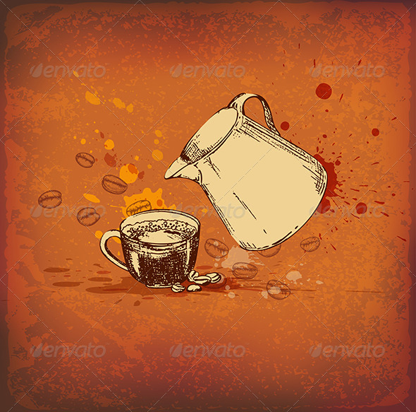 GraphicRiver Coffee Pot and Cup 8317470