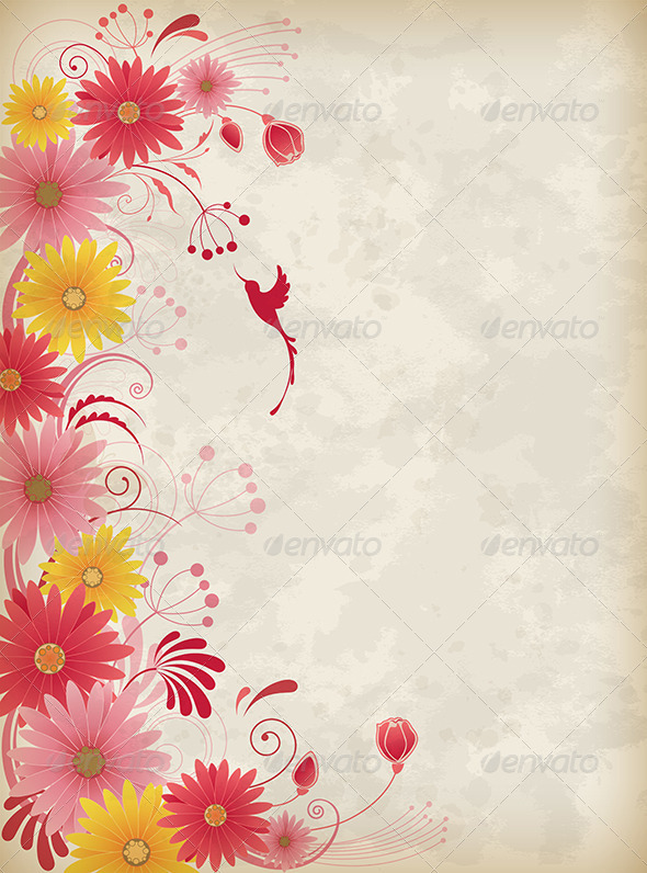 GraphicRiver Background with Red and Yellow Flowers 8317765