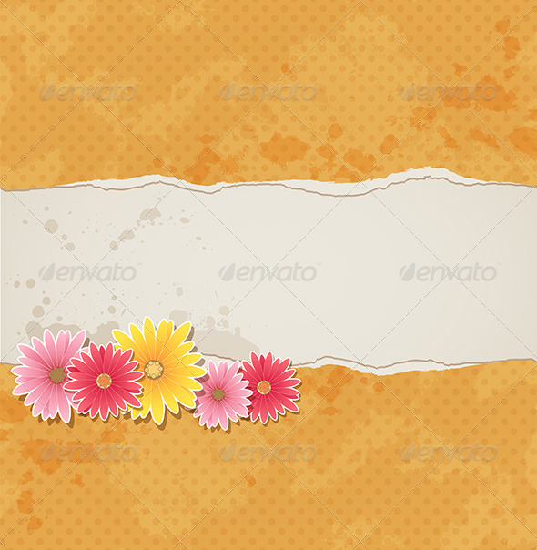 GraphicRiver Background with Flowers and Torn Paper 8317870