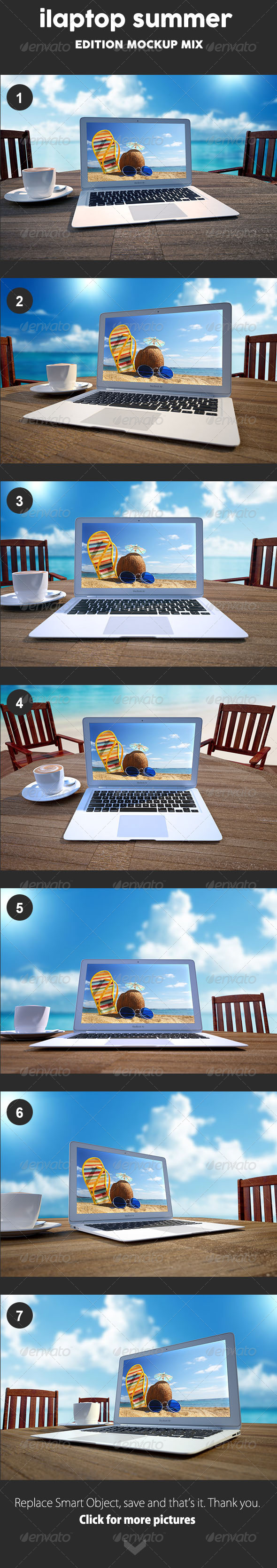 GraphicRiver Laptop Mockup Summer edition 8311189