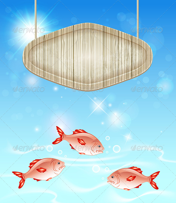 GraphicRiver Background with Wooden Label and Fish 8317966