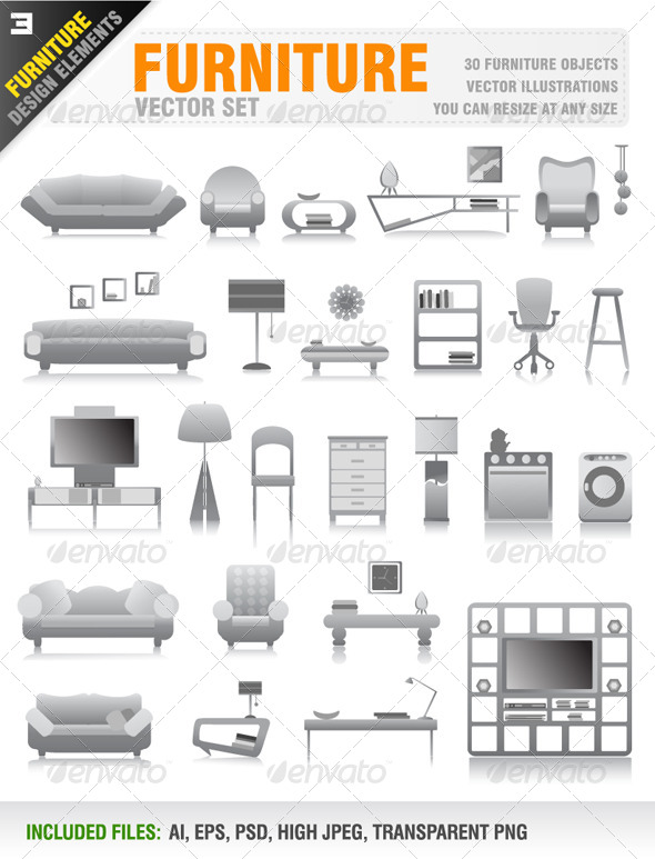 GraphicRiver 30 Furniture Icons 8317995