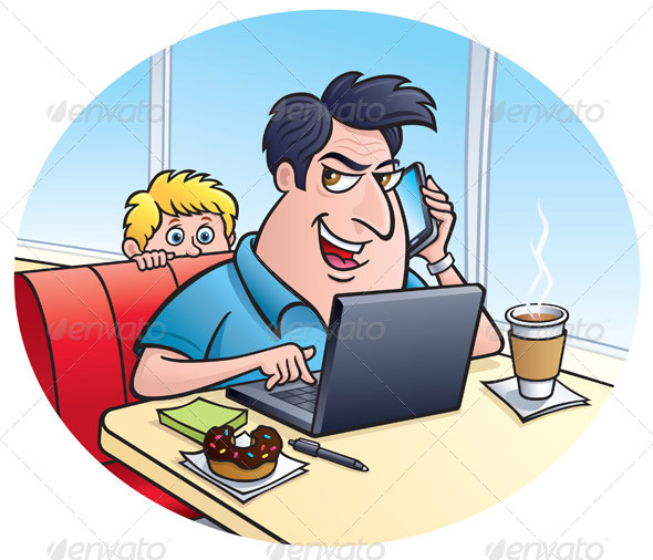 GraphicRiver Conman On A Laptop At A Coffee Shop 8318490