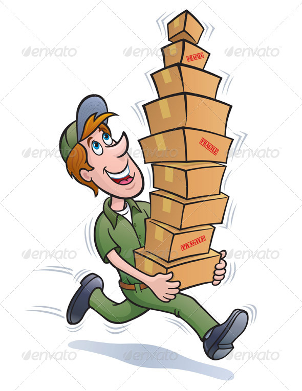 GraphicRiver Delivery Man Running With Packages 8318552