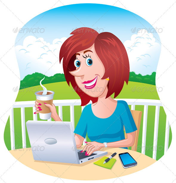GraphicRiver Woman On A Laptop Outdoors 8318566
