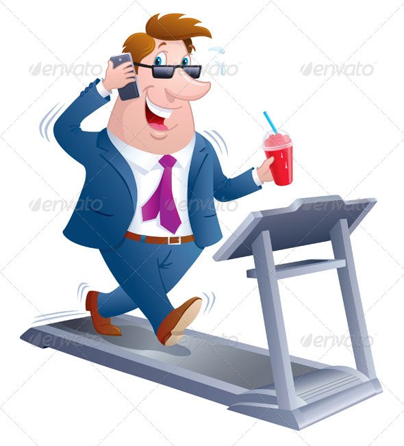 GraphicRiver Business Man Walking On A Treadmill 8318589